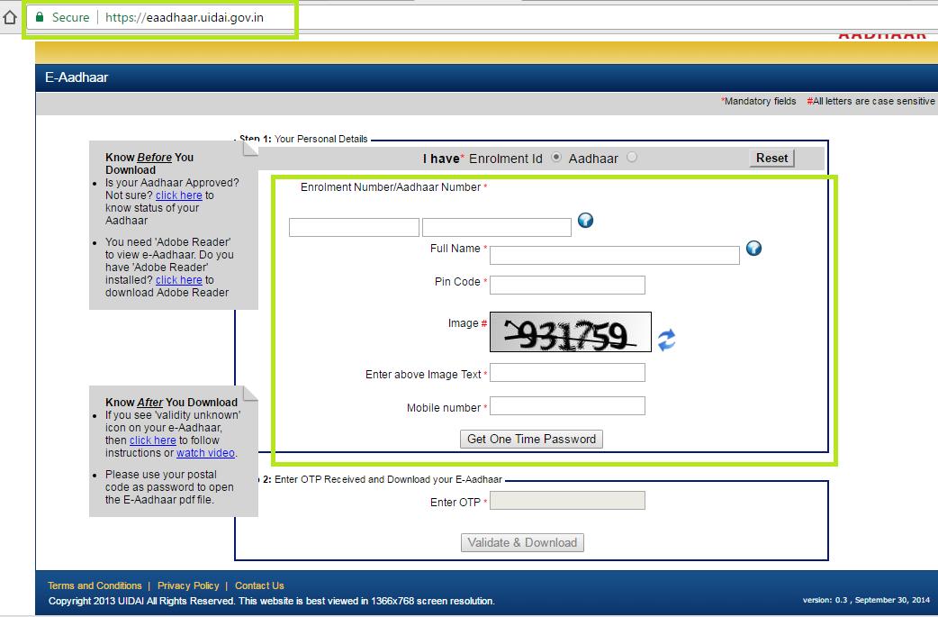 Download Your Aadhaar Without Register Mobile Number